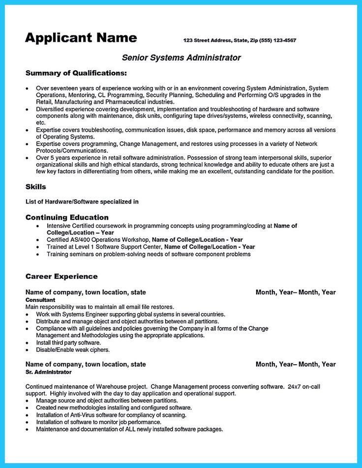 Sample Resume Senior Network Administrator Maker Create Pinterest Linux System Samples