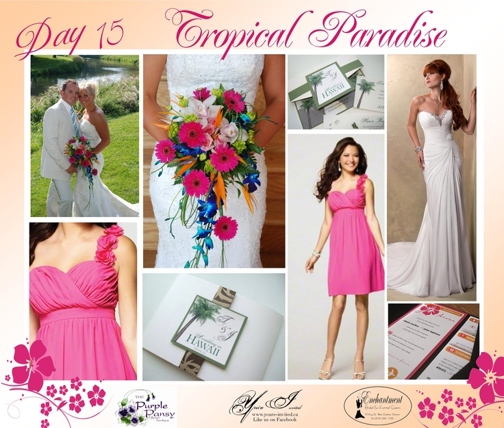Day 15 Tropical Paradise, The Purple Pansy www.purplepansy.ca You're Invited www.youre-invited.ca Enchantment Bridal www.enchantmentbr... Picture of You're Invited Invitations Enchantment Bridal Dresses & The Purple Pansy Floral Arrangements
