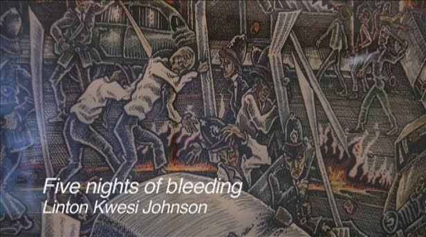 """A reading of """"Five Nights of Bleeding"""" by Linton Kwesi Johnson, with a visit to the scene of the 1981 Brixton Riots. This film was produced by Manifesta as part of their Breaking into the Museum project, with support from the Museum of London and the Heritage Lottery Fund."""