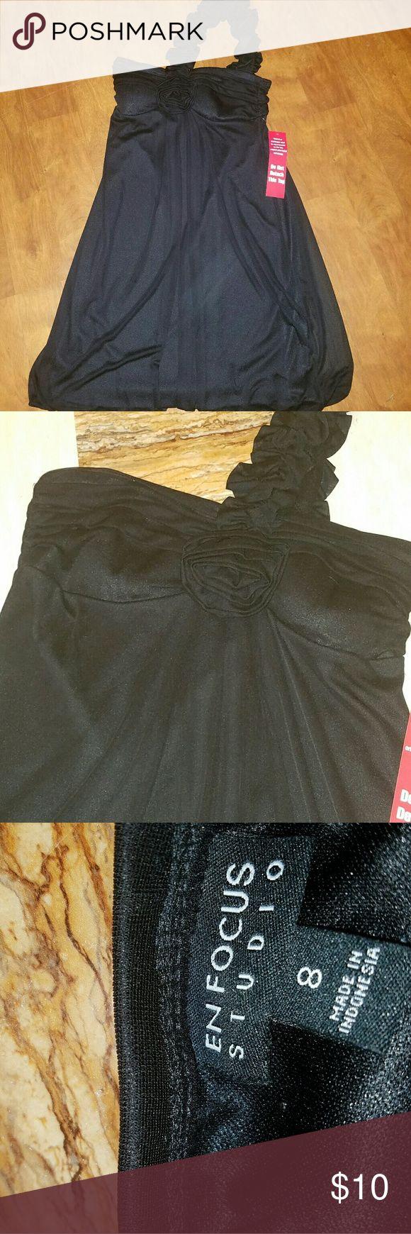 Women Size 8 black evening short dress one strap Size 8 short black eveing dress short one shoulder strap Dresses One Shoulder