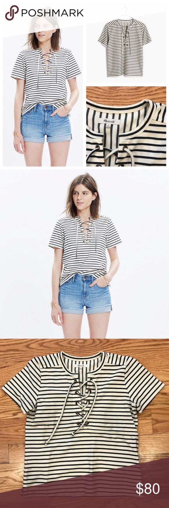 Madewell Striped Lace-Up Top Cool black and white Madewell Striped Lace-up Top. Size small. In like new condition. Feel free to ask any questions below or make me an offer. Bundle to automatically save! Madewell Tops Tees - Short Sleeve