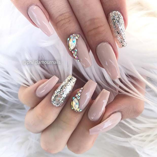 41 Elegant Nail Designs With Rhinestones Stayglam Nails Design With Rhinestones Nail Designs Bling Bling Nails
