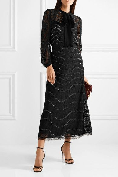 9047cc74b21c0d Temperley London | Panther pussy-bow sequined lace blouse | NET-A-PORTER.COM