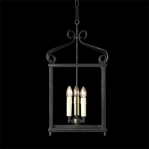 A quality lantern with bevelled glass and 3 lamp holders.  This fitting is stylish and simple with just the right amount of detailing.    Features 3 light bevelled glass lantern  Dimensions D:300 H:660 S:750 chain   Finishes Antique Bronze  Globe 240V Candle 60W without lamp