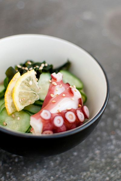 sunumono with octopus. refreshing, delicious. I could eat this everyday. Except, I am coming to regard octopus as I do whales; consequently, I may never eat it again.