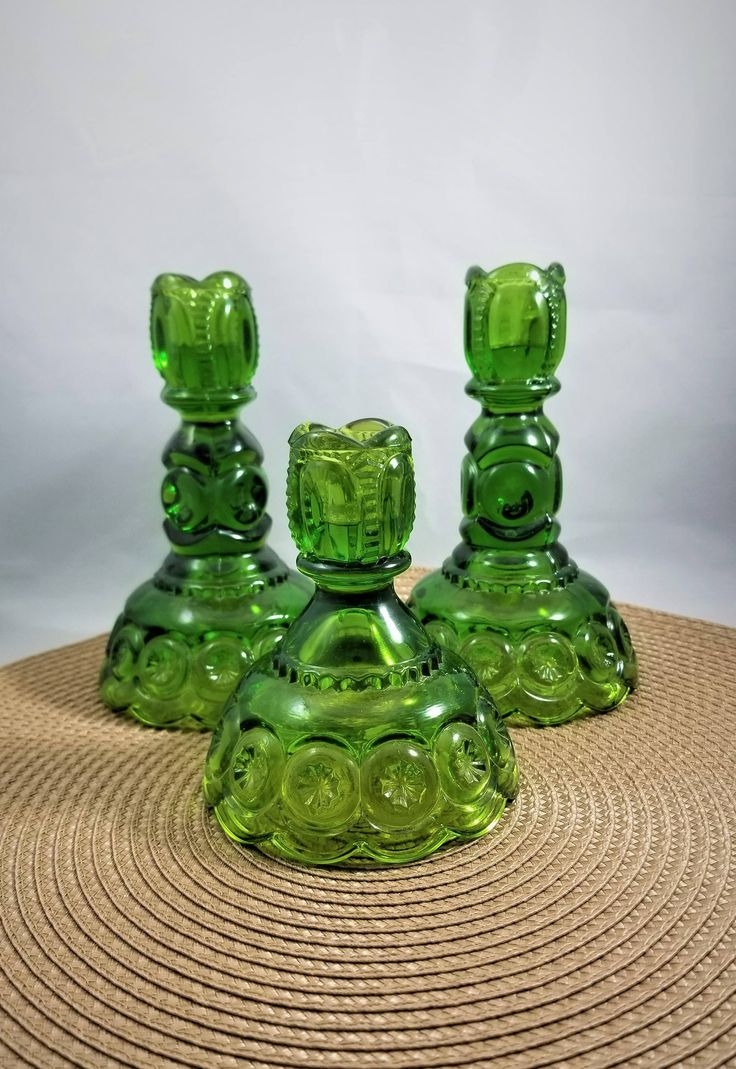 A Set of 3 LE Smith Moon and Stars Emerald Green Candle Stick Holders, Emerald Green Glass Candle Holders, by mycyberattic.Etsy.Com