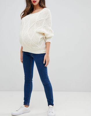 76e6ed6be1eae ASOS DESIGN Maternity Ridley high waist skinny jeans in flat blue wash with  under the bump band