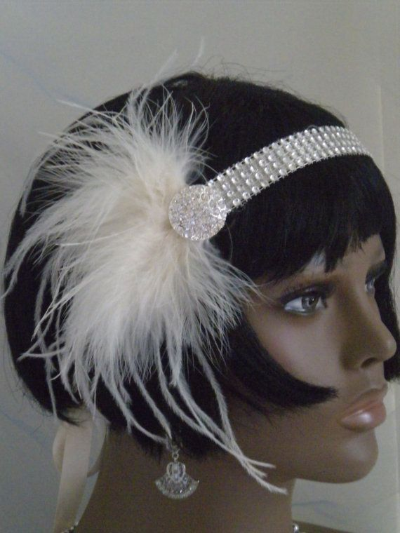 diy+1920s+headband | 1920's Headpiece, Flapper Headband, Gatsby, Ivory, Feathers , ... | D ...