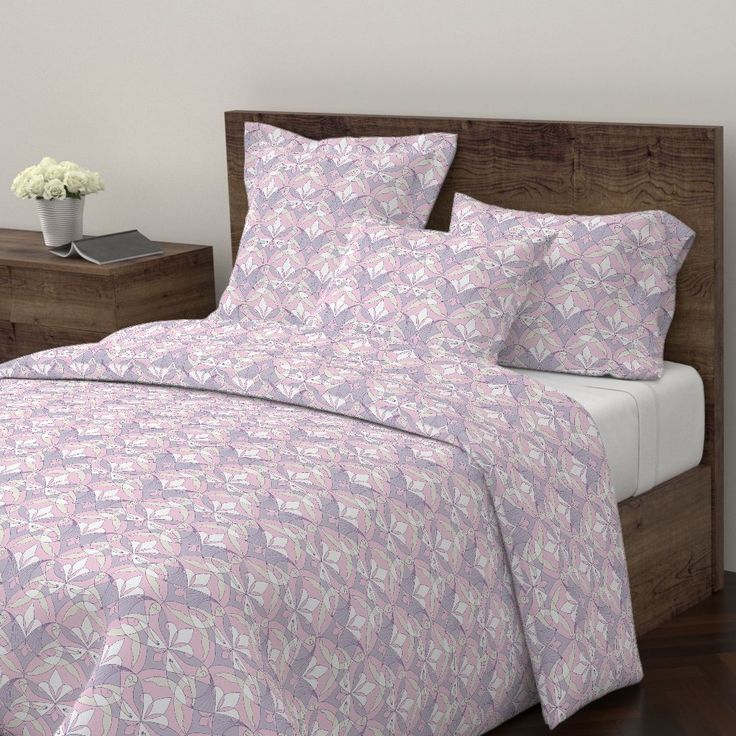 Interwoven XX_Orchid on Wyandotte by mia_valdez | Roostery Home Decor #InterwovenXX #Woman #Girls #Cubism #summertime #Ladies #girly #Sisterhood #Lis #Flower #orchid #lilac #pink #Mia #Wyandotte #Duvet #Cover #roosteryhome   @Roosteryhome