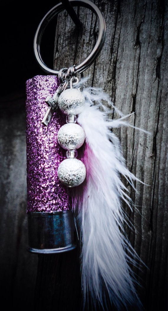 Glittered Pink Shotgun Shell Keychain by PeppermintPixieDust