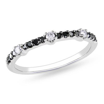 tw enhanced black and white diamond station band in 14k white