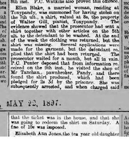 Walter Gill (taken to the cleaners :)) Glamorgan Free Press, May 22nd 1897