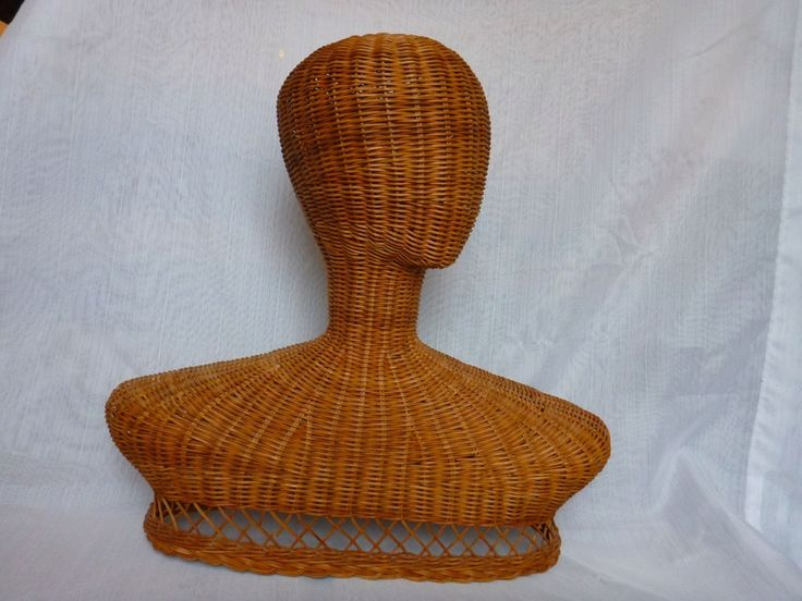 Vintage Wicker Mannequin Head and Shoulders Rattan Display Hats Jewelry Scarves | eBay