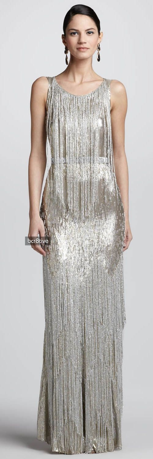 Oscar de la Renta Bead-Fringe Sleeveless Column Dress