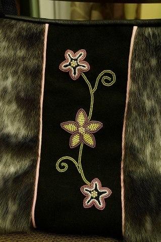 Sealskin purse w/ beading by Jennifer Watkins