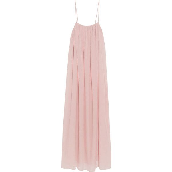 Marysia - Carmel Plissé Cotton And Silk-blend Voile Maxi Dress (535 BRL) ❤ liked on Polyvore featuring dresses, pastel pink, cotton silk dress, pink maxi dress, voile dress, slip on dress and pink dress