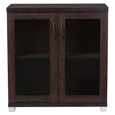 Zentra Modern and Contemporary Sideboard Storage Cabinet with Glass Doors - Dark Brown - Baxton Studio