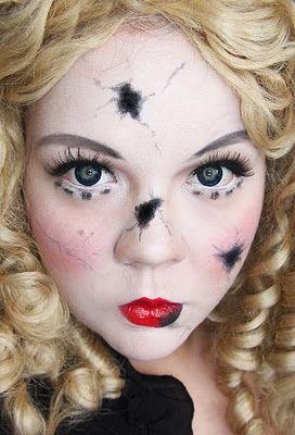 Shattered doll face makeup. Halloween costume idea?? :)