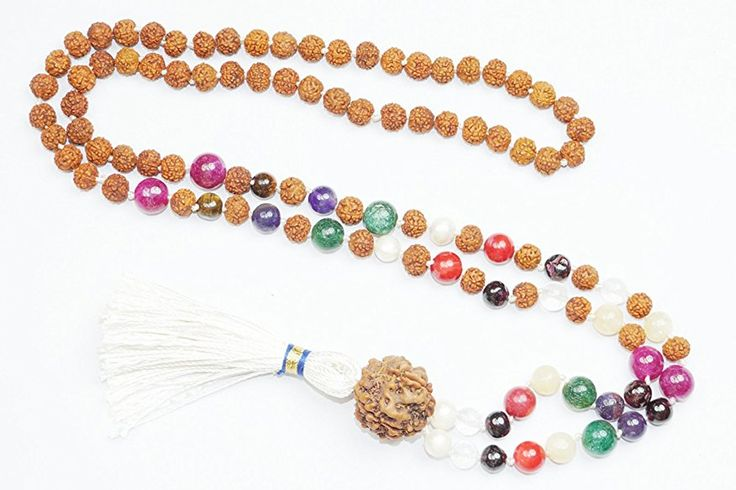 Necklace Navaratan Rudraksha Prayer Beads for Meditation, Healing Prayer Malas, Holy Necklace  #yogamala #spiritualmala #sale #meditationmala