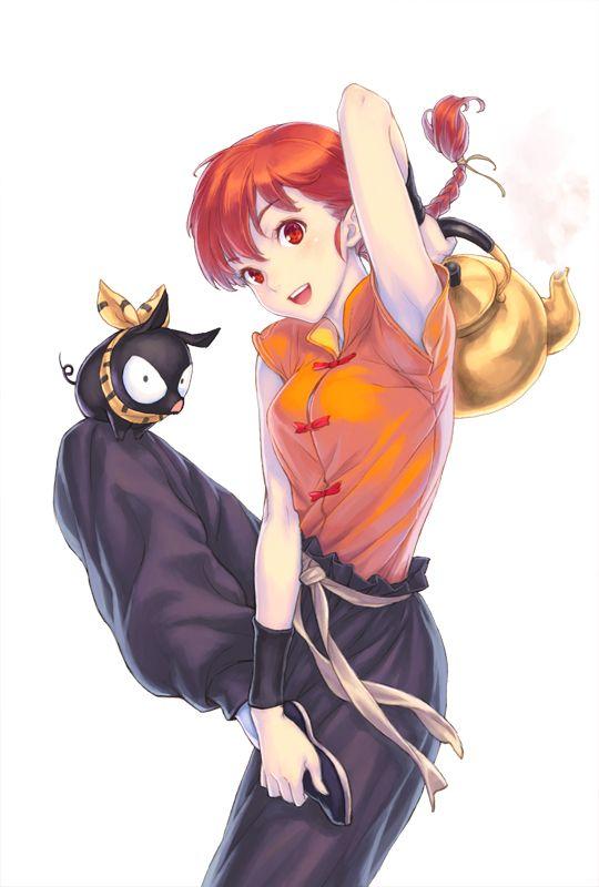 by hisakata souji.  Red hair, red eyes, black pants, orange shirt, pig, teapot.