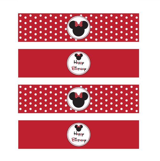 minnie mouse water bottle label | MINNIE MOUSE RED PRINTABLE WATER BOTTLE LABELS