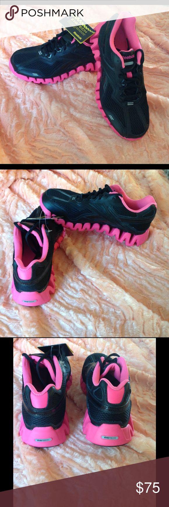New Reebok Zig Tech Zigenergy Black/Pink  Sz 5.5 New Reebok Running Sneakers Sz 5.5 Reebok Shoes Athletic Shoes