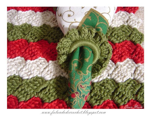 """""""SPEAKING OF CROCHET"""": RING FOR NAPKINS IN CROCHE CHRISTMAS WITH STEP-BY-STEP (RECYCLE THE RINGS OF PET BOTTLE)"""