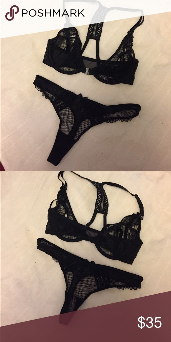 BRAND NEW black mesh open cup bra and thong Never worn! No trades, but open to reasonable offers. Bundle & save some cash  Intimates & Sleepwear Bras