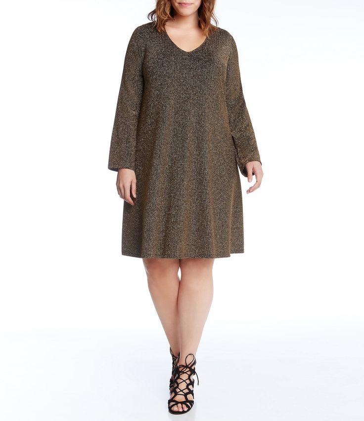 Karen Kane Plus Gold Knit Taylor Swing Dress #Dillards