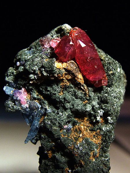 A ruby is a pink to blood-red colored gemstone, a variety of the mineral corundum (aluminium oxide). The red color is caused mainly by the presence of the element chromium. Its name comes from ruber, Latin for red. Other varieties of gem-quality corundum are called sapphires.