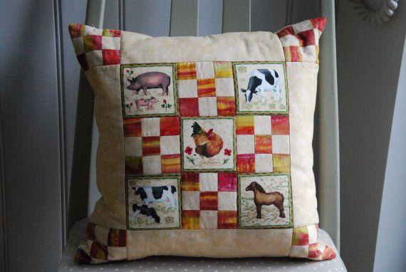 Farm Animal Patchwork Cushion Children's Pillow Nursery