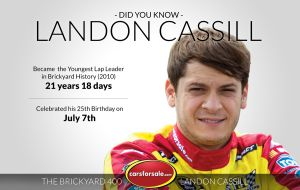 Landon Cassill currently holds the #NASCAR record at the Brickyard 400 as the Youngest Lap Leader in the history of the race.