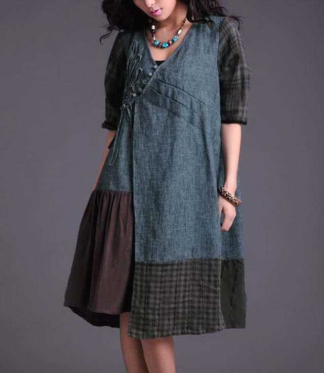 Big Colored Patchwork Linen Dress