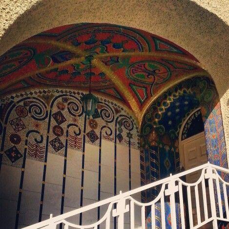The pure beauty of art-deco. Detail of porch Vila Primavesi in Olomouc, Czech…