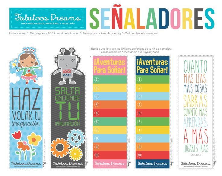Free Kids Bookmarks in Spanish! We love bilingual kids! Great for your Summer Reading Proyect!