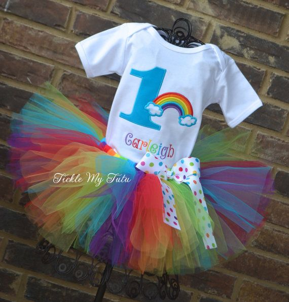 Over the Rainbow Birthday Number Tutu Outfit on Etsy, $54.95