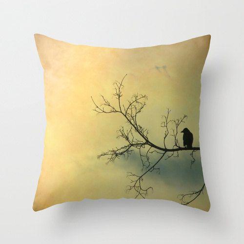 Crow Image, Bird Art Pillow, Zen Raven, Golden Nature Sky And Blackbird, Nature Home Decor, Silhouette - Solitude Mood Pillow Cover