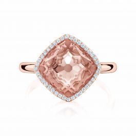 Birks Muse ® Morganite Ring with Pavé Diamonds.  This breathtaking morganite ring is made of 18kt rose gold with a diamond pavé of 0.13ct.