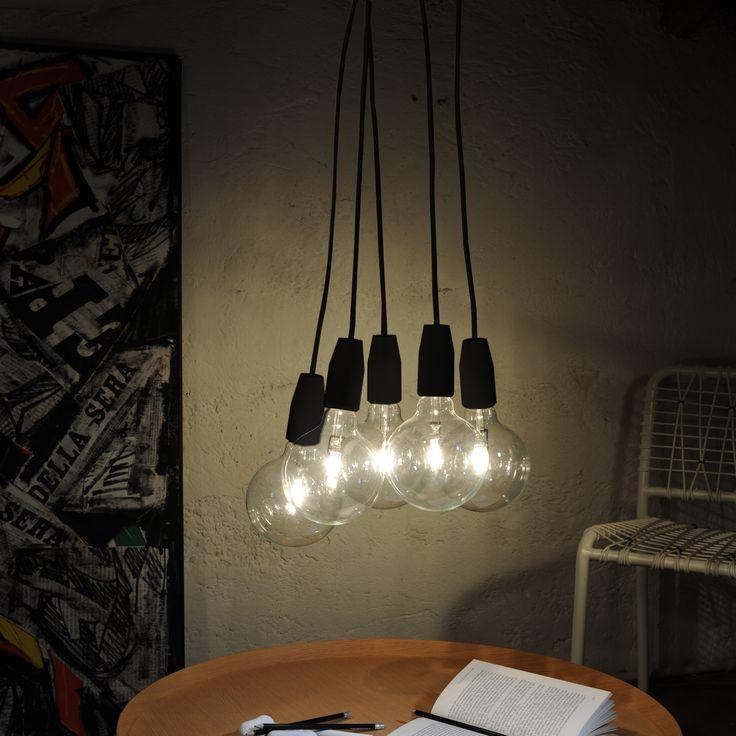 Sforzin Illuminazione - Lampada A Sospensione 5 LUCI SENZA KIT NERO