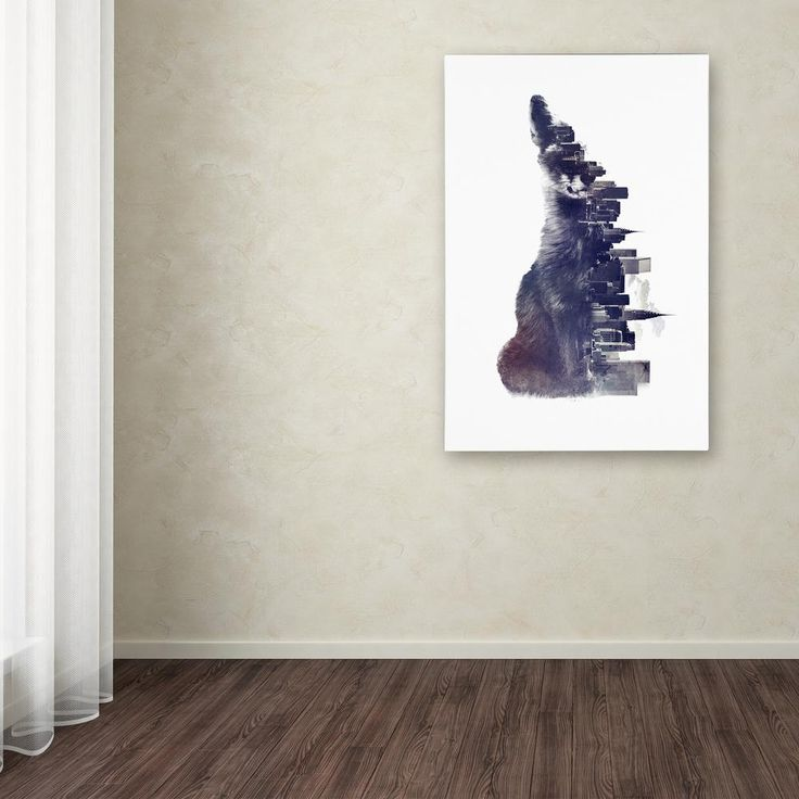 """19 in. x 12 in. """"Fox From The City"""" by Robert Farkas Printed Canvas Wall Art"""
