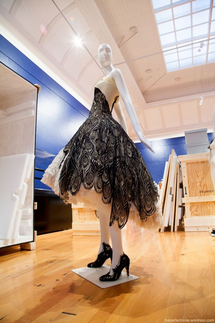 Alexander McQueen Peacock Dress as part of the exhibition at the Bendigo Art Gallery - Modern Love Fashion visionaries from the FIDM Museum LA 26 October 2013 – 2 February 2014