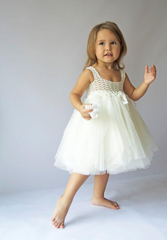 Ivory Empire Waist Baby Tulle Dress with Stretch por AylinkaShop