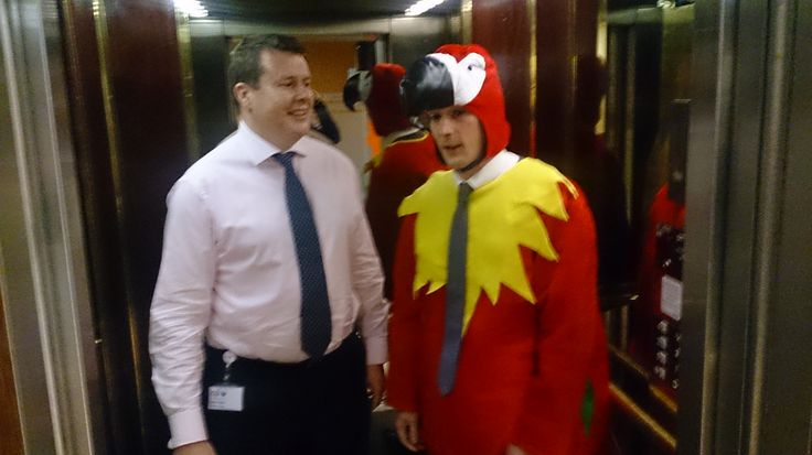 Meeting people in the lift wasn't Robbie's favourite part of the day. You could say it made him sick as a… #TheCplParrot