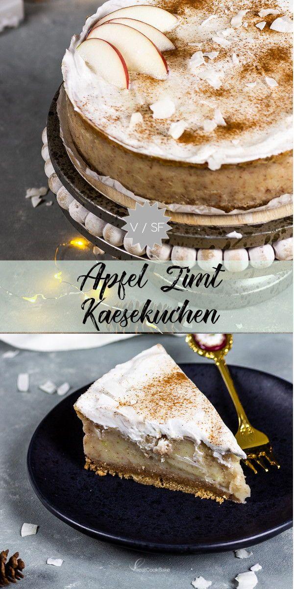 Veganer Apfel Zimt Käsekuchen mit Spekulatius | Rezept ...