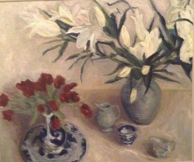 TINA BALMER. White lilies, tulips