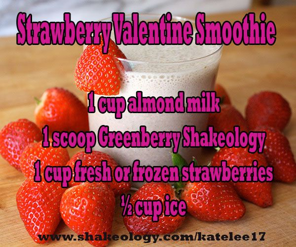 Shakeology, be mine! This strawberry and Greenberry Shakeology smoothie is sweet and pink, just like a Valentine. Daily Dose Of Dense Nutrition Shakeology can help you lose weight, feel energized, improve digestion & regularity plus it tastes delicious too! #shakeology | get healthy! I drink it everyday talk to me about a sample and see how you feel once you begin to get the nutrition your body NEEDS for health and wellness.