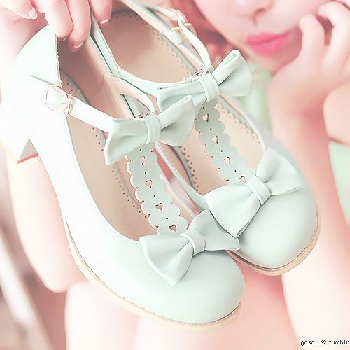 Lacy candy pastel mint green dolly heels with kawaii bow ties