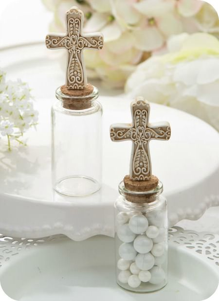 Cross Glass Jars - religious party favors - Christmas party favors - COUPON is saveme5