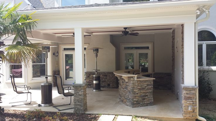 Layton Covered Porch With Outdoor Kitchen And Coffer Ceiling Find This Pin More On Salt Lake City