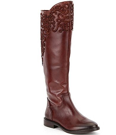 Gianni Bini Brytt Embroidered Slim Shaft Riding Boots #Dillards
